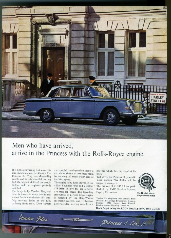 1966 Car VANDEN PLAS PRINCESS 4 LITRE R Vintage Advert 35 HARLEY ST LONDON Print